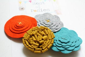Image of Felt Posie Cluster - Tuscan Sunset