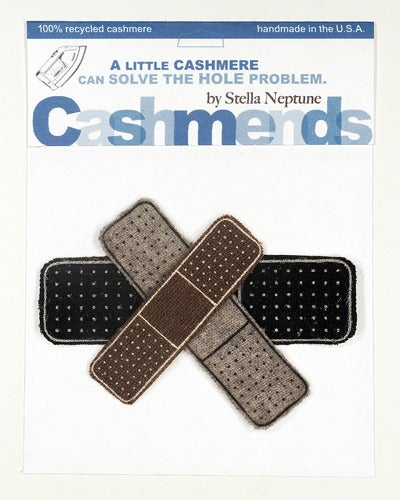 Image of Iron-on Cashmere Band-Aid - Black/Brown/Grey