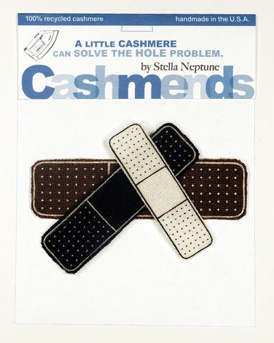 Image of Iron-on Cashmere Band-Aid - Black/Brown/Cream
