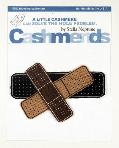 Image of Iron-on Cashmere Band-Aid - Black/Camel/Brown