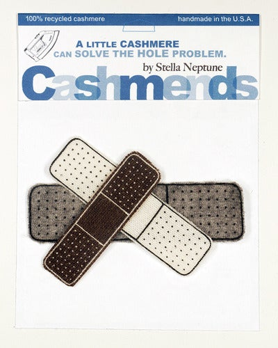 Image of Iron-on Cashmere Band-Aid - Brown/Grey/Cream