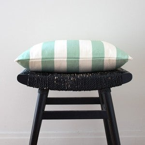 Image of CANDY STRIPES Green Silk Cushion, Pillow Cover, 45 x 45 cm (18 x 18 inch)