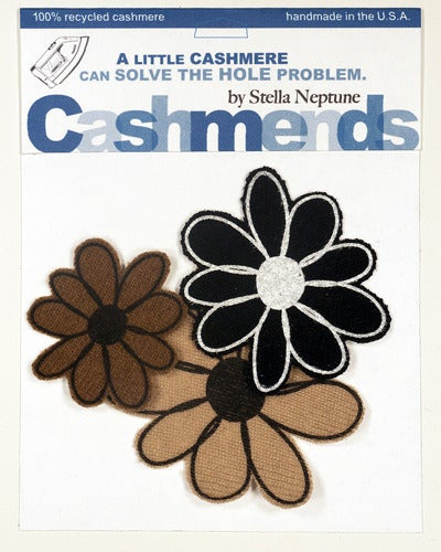 Image of Iron-on Cashmere Flower - Black/Brown/Camel
