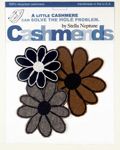 Image of Iron-on Cashmere Flower - Black/Brown/Grey