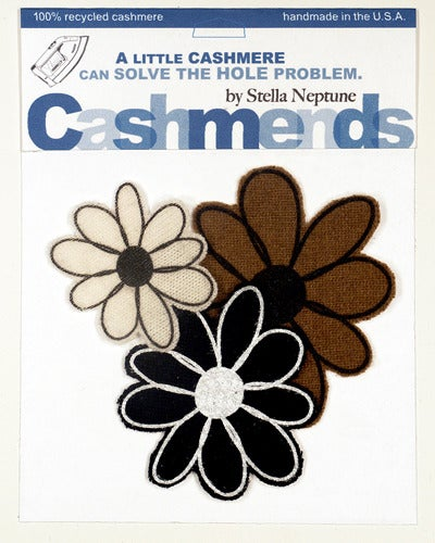 Image of Iron-on Cashmere Flower - Black/Cream/Brown