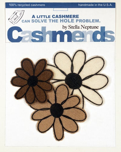 Image of Iron-on Cashmere Flower - Brown/Camel/Cream