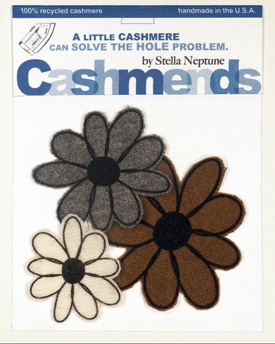 Image of Iron-on Cashmere Flower - Brown/Grey/Cream