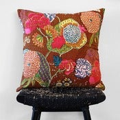 Image of KANTHA Brown Cotton Cushion Cover 50 x 50 cm, 20 inch