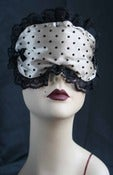 "Image of ""Benjamine"" sleep mask in cream satin and spotted black tulle"