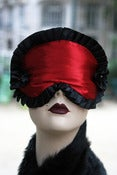 "Image of ""Vixen"" sleep mask in red satin and black pleated ribbon"