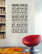 Image of House and Family Rules Removable Wall Decal Sticker Art