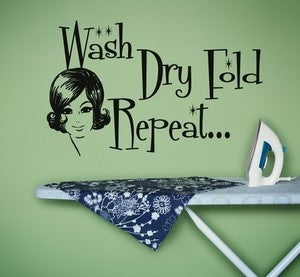 Image of Laundry Room Decal Wash Dry Fold Repeat Retro Wall Decal Sticker