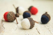 Image of Patriotic RED WHITE & BLUE Merino Wool Felted Acorns