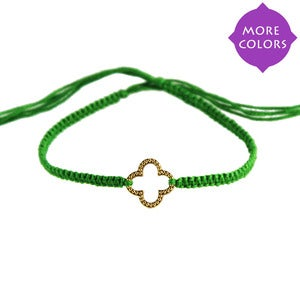 NauticalWheeler — Friendship Bracelet with Clover in Gold :  string bracelet homemade string bracelet clover jewelry friendship jewelry