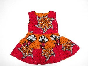 Image of Kenya Tangerine and Pink  Girls Ruffle Dress