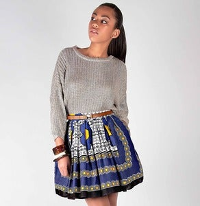 Image of Blue Khanga Print Skirt