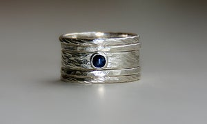 Image of Sarah set with blue sapphire in sterling silver stacking rings