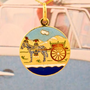 Image of Donkey & Carriage Gold Circle Pendant