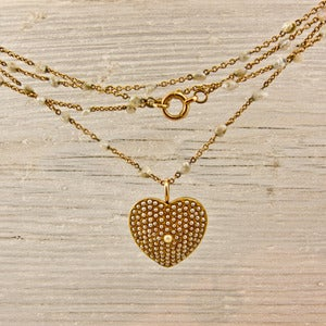 Image of Victorian Gold and Natural Pearl Heart and Chain