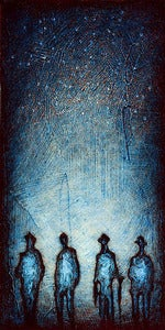 "Image of ""Solo Human Shadows Blue"" <br> Size: 12x6"" <br> 2nd photo shows size"