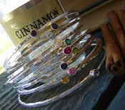 Image of gem stone stacking bangles... fine silver hand forged and stamped birthstone bangle bracelets