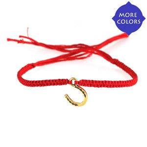 NauticalWheeler — Friendship Bracelet with Horseshoe in Gold :  charm bracelets equestrian jewelry gold and red bracelet gold horseshoe bracelet