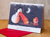 "Image of Firebreathing Snowman - ""Merry Christmas"""