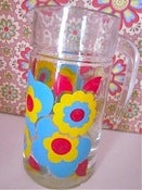 Image of Original 1970s Flowery Glass Jug