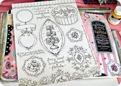 Image of cupcakes, florals & sweet scrolls journal/scrapbook stickers sheet