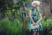 Image of Blue and Green Petal Shirt Dress