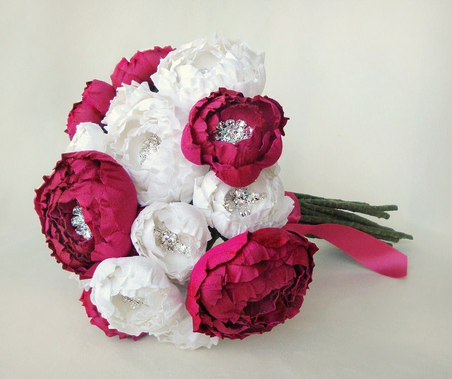 Image of Off White and Fuchsia Silk Catala Bloom Bridal Bouquet