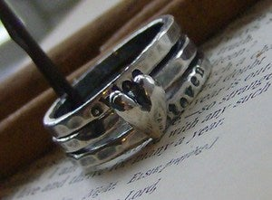Image of All you need is love hand stamped fine silver stacking ring set