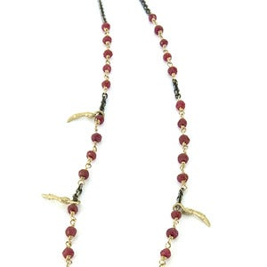 Image of 24 handmade ruby &amp; gold chain w/ five small 14k gold branches (P055rubsil14k24)