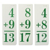 Image of Set of 5 vintage Flashcard Green (plus or minus)