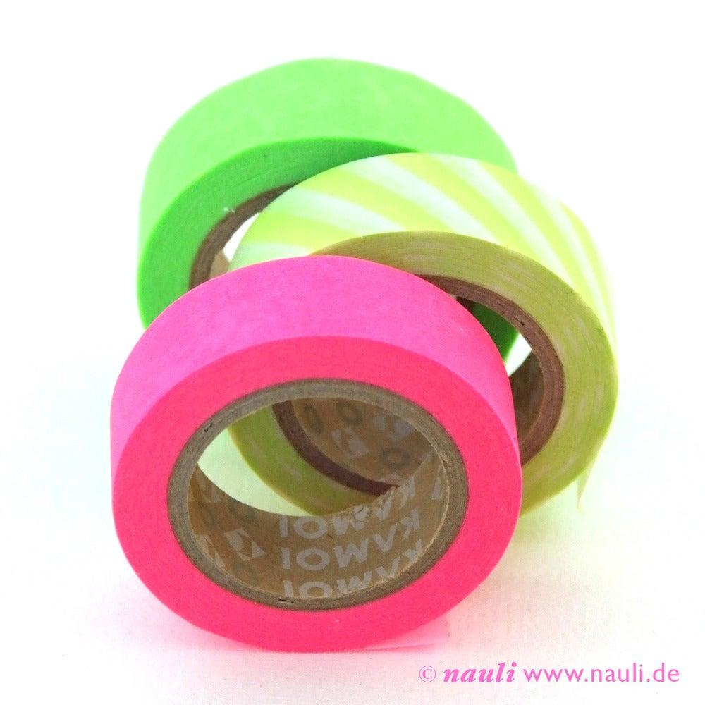 washi masking tape 3er neon gr n pink streifen nauli. Black Bedroom Furniture Sets. Home Design Ideas