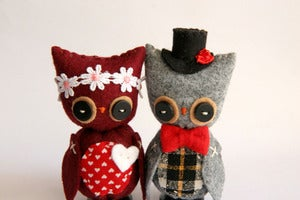 Image of Owl Cake Toppers and Mounted Doe