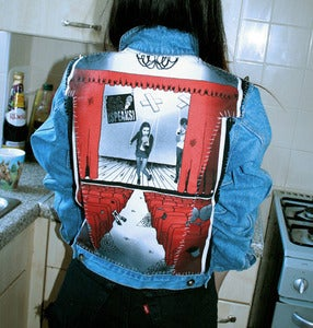 Image of Stitched Up! Ladies Light - Mid Blue 'SPEAKS' Denim Jacket (Medium)