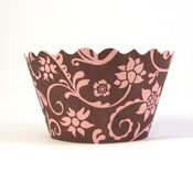 Image of Pink and Chocolate Brown Hannah Cupcake Wrapper