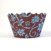 Image of Blue and Chocolate Brown Hannah Cupcake Wrapper