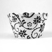 Image of Black and White Hannah Cupcake Wrappers