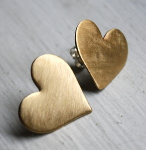 Image of Large Brass Heart Studs