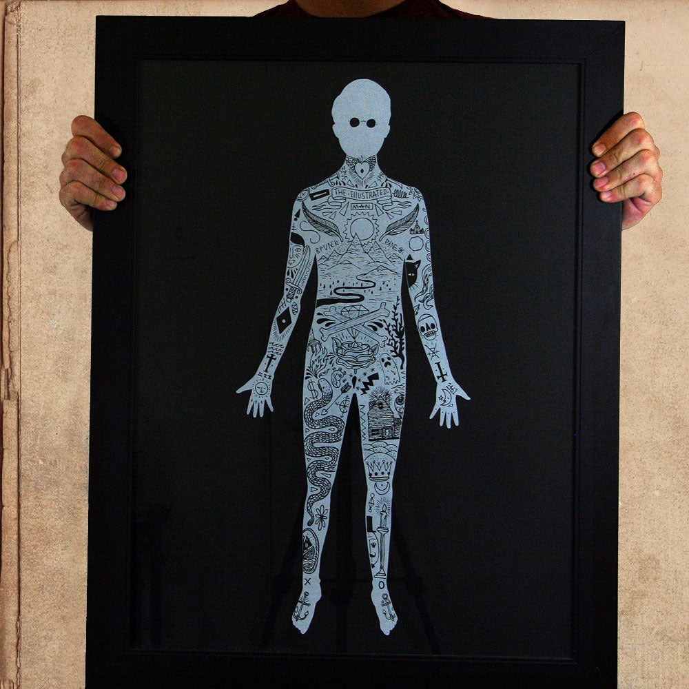 Image of Illustrated Man18x24 silkscreened poster - limited to 50