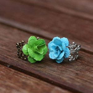 Image of Enameled Metal Rose Ring - White, Yellow, Green, Blue, Pink