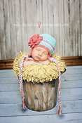Image of Earflap Beanie in Robin's Egg Blue with Cherry blossom stripe and flower (6 Sizes available)