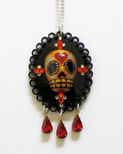 Image of Sugar Skull Cameo [Orange/Red/Silver]