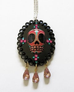 Image of Sugar Skull Cameo [Pink/Brown/Teal]