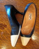 Image of Celine Black and Cream Leather pumps SZ 7.5/37.5 NOW 40% off