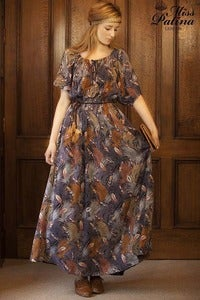 Image of 70's Inspired Drawstring Bohemian Dress (feather)