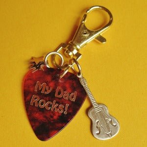 Image of My Dad Rocks Plectrum Keyring