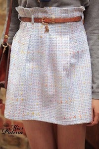 Image of Miss Patina Key Buckle Belt Pleated Skirt (Light blue tweed)